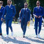 ست کردن کت و شلوار آبی +تصاویر