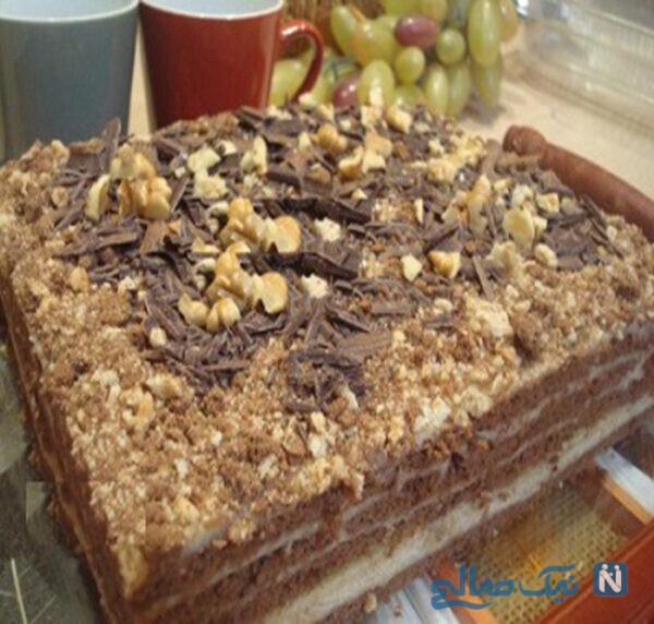 دسر کاسترد با بیسکویت و شکلات طرز تهیه دسر کاسترد با بیسکویت و شکلات