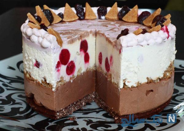 کیک بستنی با خامه