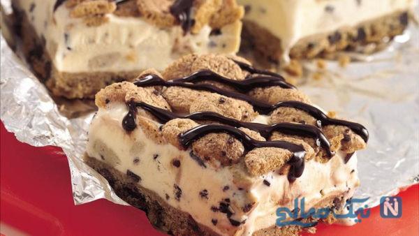کیک بستنی بیسکویتی