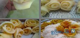 آموزش تصویری درست کردن گل رز سرخ شده با سیب زمینی(بسیار زیبا)