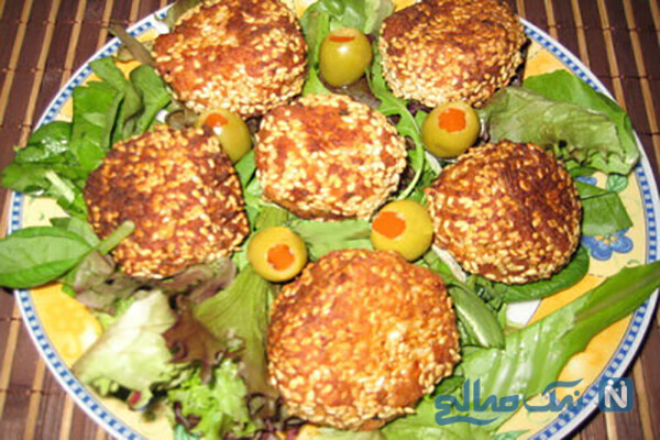 توپک مرغ با کنجد لذیذ و آسان