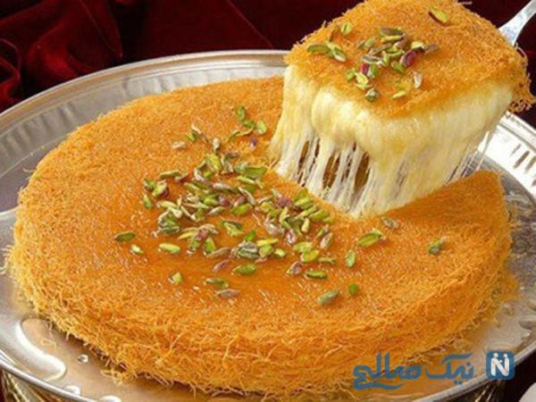 طرز تهیه دسر عربی کونفه کاداییف مخصوص ماه رمضان (بسیارآسان و خوشمزه) +عکس