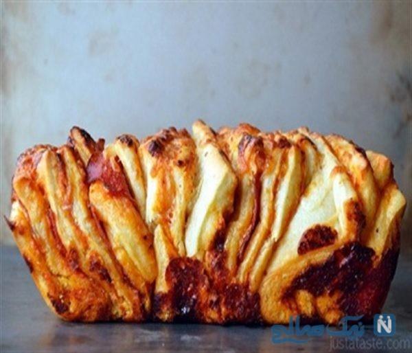 طرز تهیه نان پیتزایی تکه ای بسیار شیک و خوش طعم! +عکس