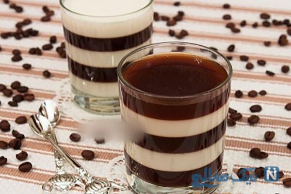 ژله شیر و قهوه لذیذ با طرح راه راه!
