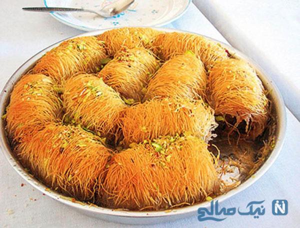 کاداییف رول شده گردویی، دسر لذیذ ترکیه ای ویژه ماه رمضان+عکس
