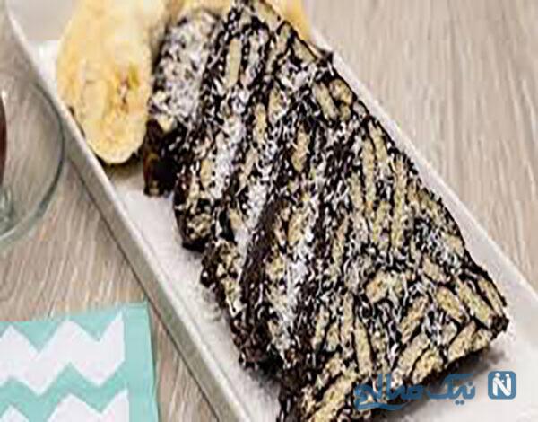کیک موزاییکی یخچالی