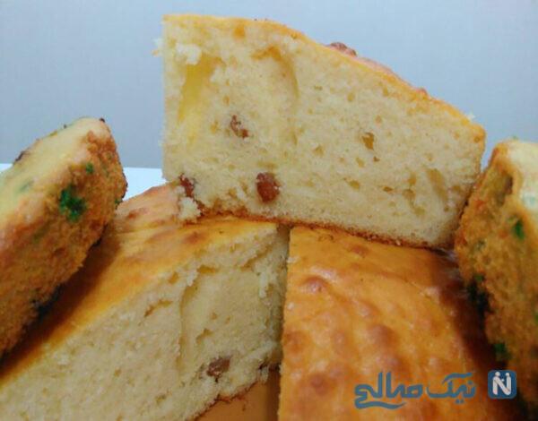 کیک کشمشی با آرد ذرت