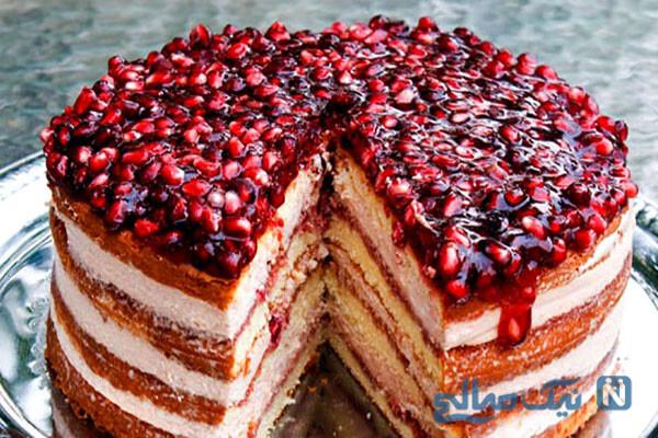 چیز کیک ژله ای انار مخصوص شب یلدا