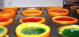 طرز تهیه زله رنگین کمانی در فنجان پرتقالی