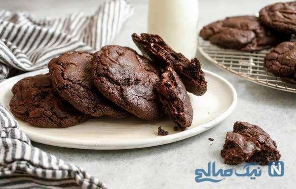 طرز تهیه کوکی دوبل شکلاتی شیرینی مخصوص عید نوروز