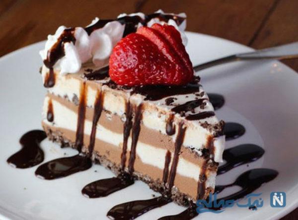 خوشمزه ترین دسر تابستانی ، کیک بستنی نارگیلی +عکس