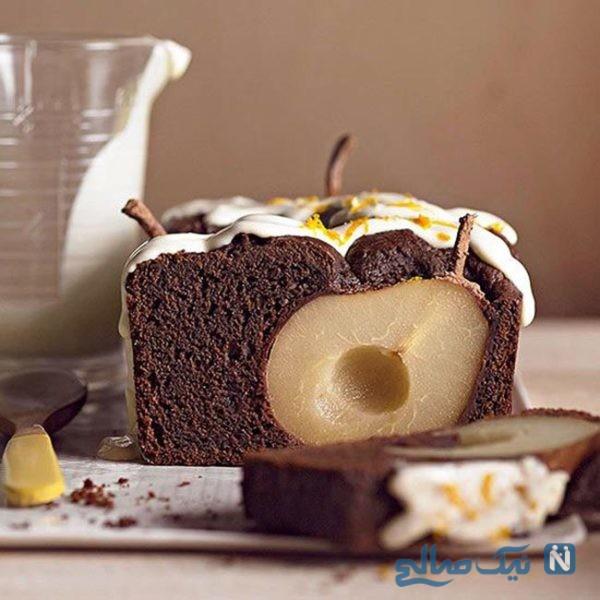 کیک شکلاتی با گلابی