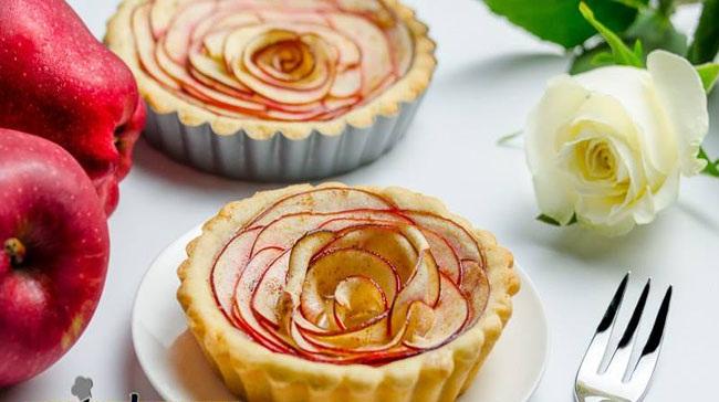 تارت سیب با طرح رز و طعم عالی+عکس
