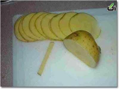 آموزش تصویری چیپس سیب زمینی به شکل گل رز