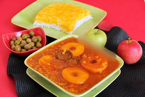 طرزتهیه یک غذای کازرونی خوشمزه: خورش سیب!+عکس
