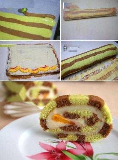کیک رولتی راه راه ، ایده شیک و لذیذ برای پذیرایی از مهمانانتان!+عکس