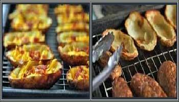 یک پیش غذای ساده ولذیذ! پوست سیب زمینی سرخ کرده همراه با پنیر و ژامبون+عکس
