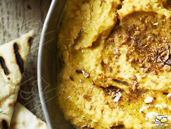 طرز تهیه هوموس کدو حلوایی غذایی عربی – یونانی +عکس