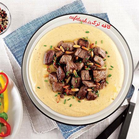 طرز تهیه خوراک هوموس و گوشت سرخ شده +عکس