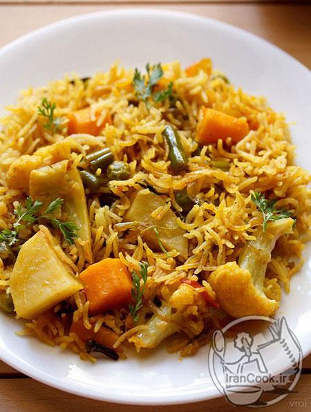 طرز تهیه پلو سبزیجات هندی غذایی خوش عطر +عکس