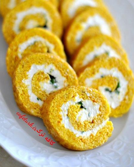 طرز تهیه پیش خوراکی شاهانه با نان رول هویجی +عکس