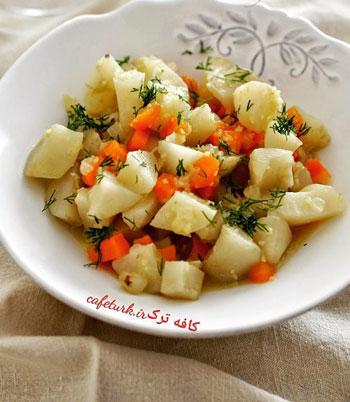 طرز تهیه خوراک یئر اِلماسی روغن زیتونی ، خوراکی سرد +عکس