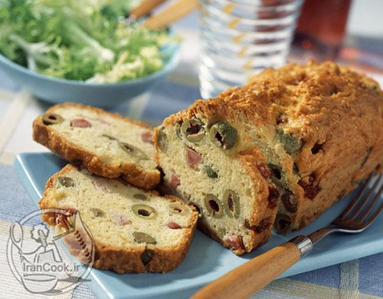 طرز تهیه نان زیتون و ژامبون فرانسوی +عکس