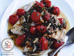 طرز تهیه ماهی شیر با گوجه گیلاسی