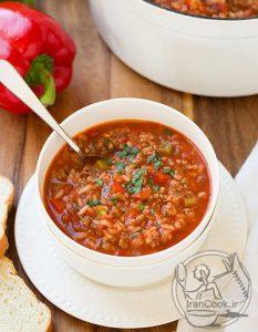 طرز تهیه سوپی خوشمزه با مواد دلمه