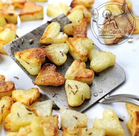 طرز تهیه سیب زمینی کبابی قلبی +عکس
