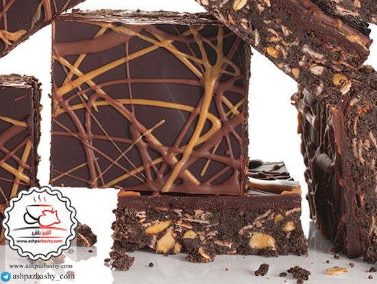 طرز تهیه گرانولا بار شکلات با کره بادام زمینی و جو بدون پخت +عکس