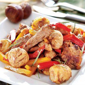 طرز تهیه خوراک گوشت و شاه بلوط