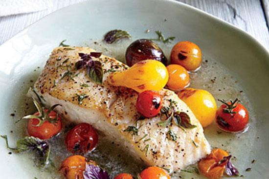 طرز تهیه هالیبوت به همراه گوجه فرنگی انگوری و زعفران +عکس