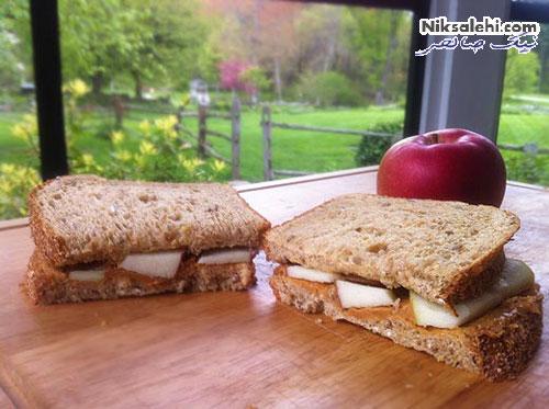ساندویچ سیب و کره بادام زمینی