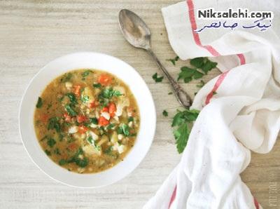 سوپ گل کلم و عدس