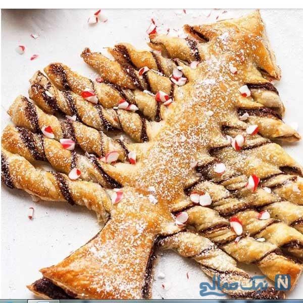 آموزش تزیین نان شیرینی شکلاتی به شکل درخت کریسمس