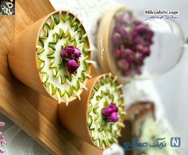 تزیین شیر برنج با گل رز
