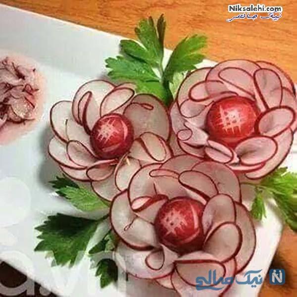 تزیین تربچه به شکل گل رز