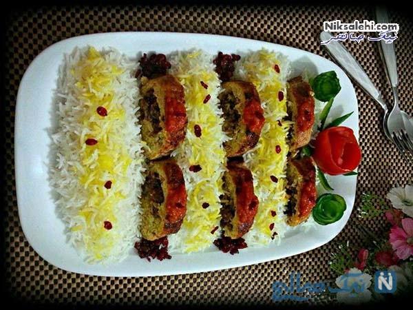 تزیین برنج با زعفران و زرشک