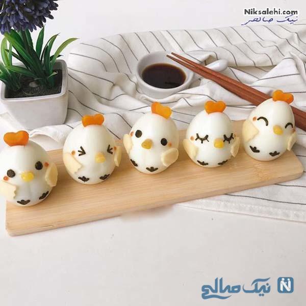 تزیین تخم مرغ آب پز عروسکی