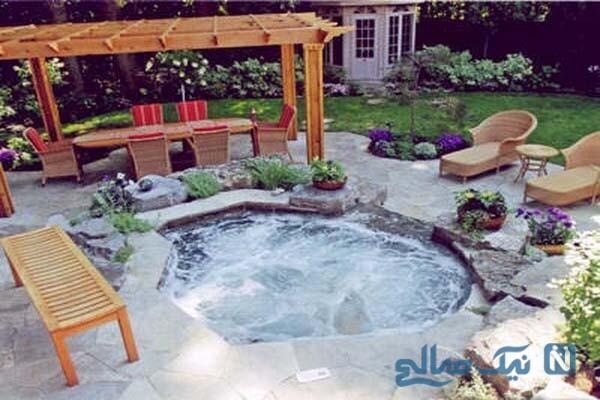 ایده هایی عالی برای طراحی جکوزی در حیاط و باغ