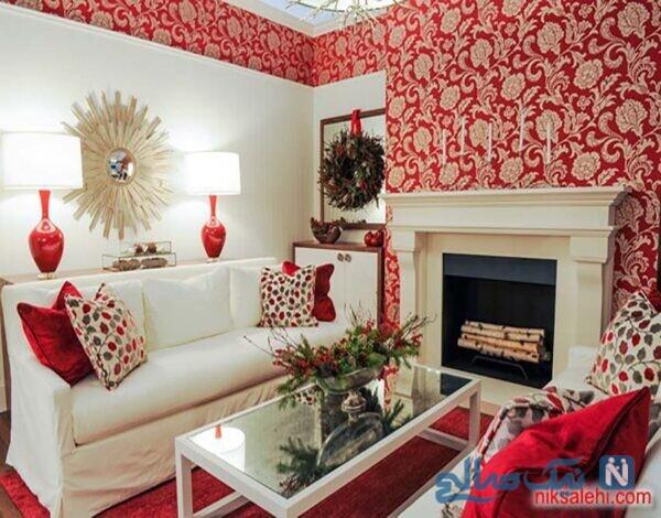 مدل کاغذ دیواری قرمز رنگ پذیرایی