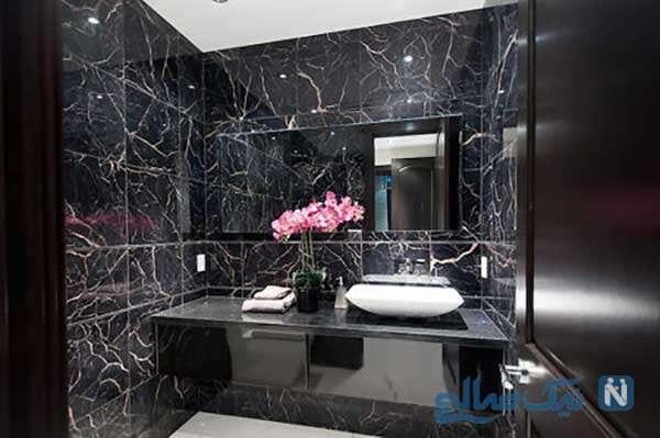 دکوراسیون مشکی فوق العاده شیک حمام و دستشویی