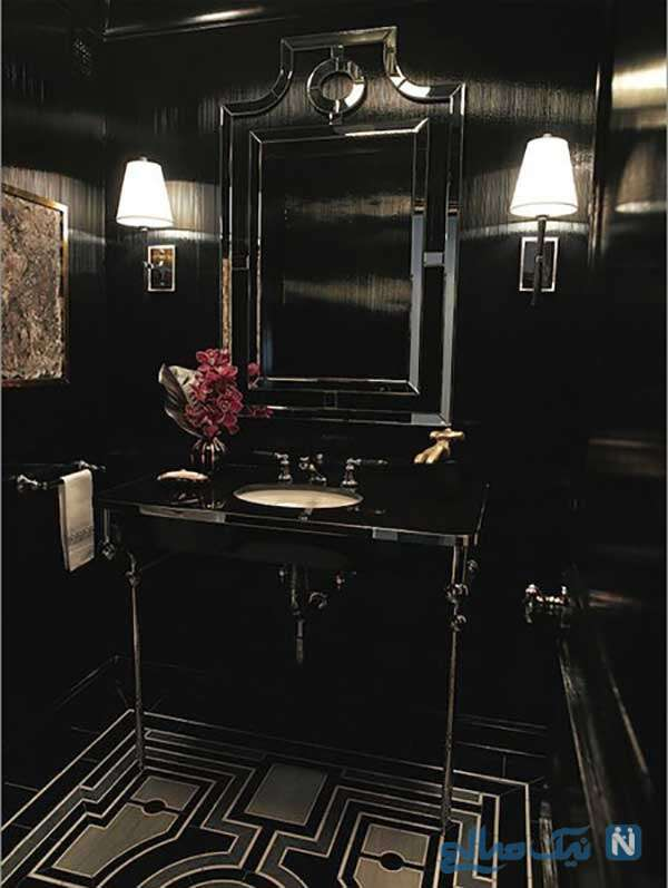 دیزاین مشکی حمام و سرویس بهداشتی شیک