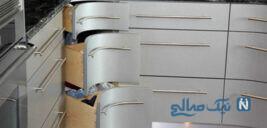 مدل کابینت گوشه آشپزخانه با طراحی کاربردی