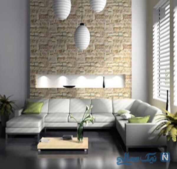 دیوارهای سنگی در اتاق پذیرایی