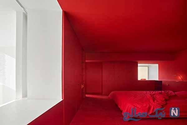 دکوراسیون اتاق پذیرایی قرمز رنگ بسیار زیبا