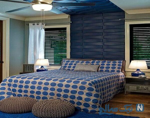مدل رنگ آبی تخت خواب