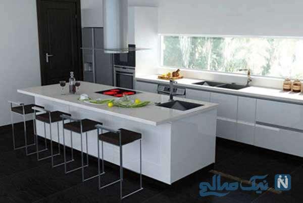 استفاده از رنگ های سیاه و سفید در آشپزخانه